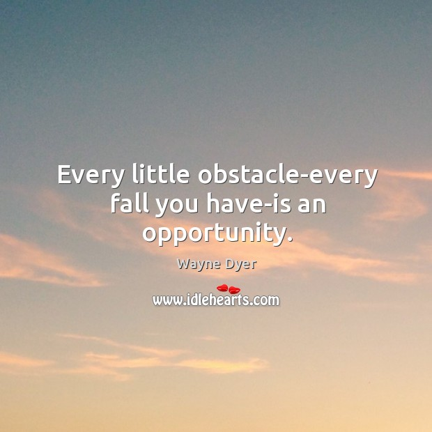 Every little obstacle-every fall you have-is an opportunity. Image