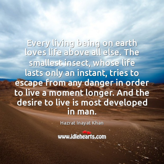 Every living being on earth loves life above all else. The smallest Hazrat Inayat Khan Picture Quote