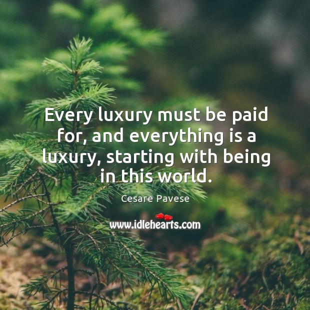 Every luxury must be paid for, and everything is a luxury, starting with being in this world. Image