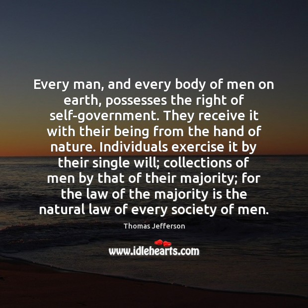 Every man, and every body of men on earth, possesses the right Thomas Jefferson Picture Quote