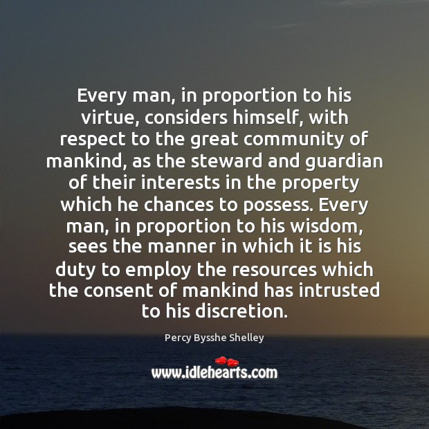 Every man, in proportion to his virtue, considers himself, with respect to Image