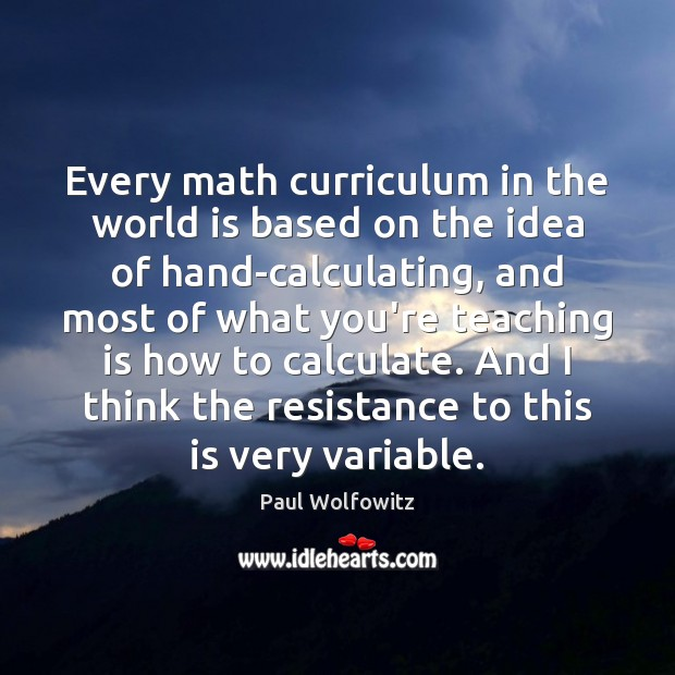 Every math curriculum in the world is based on the idea of Image