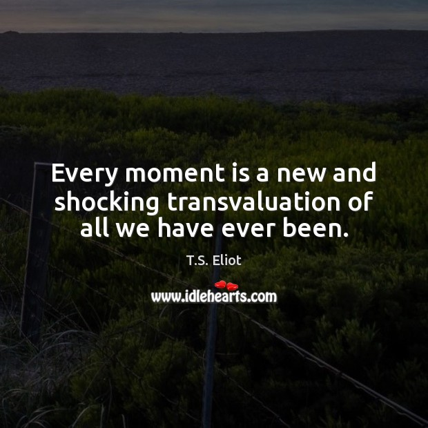Every moment is a new and shocking transvaluation of all we have ever been. T.S. Eliot Picture Quote