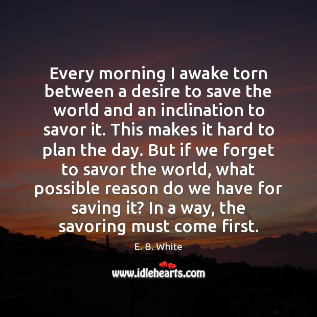 Every morning I awake torn between a desire to save the world E. B. White Picture Quote