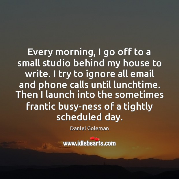 Every morning, I go off to a small studio behind my house Daniel Goleman Picture Quote