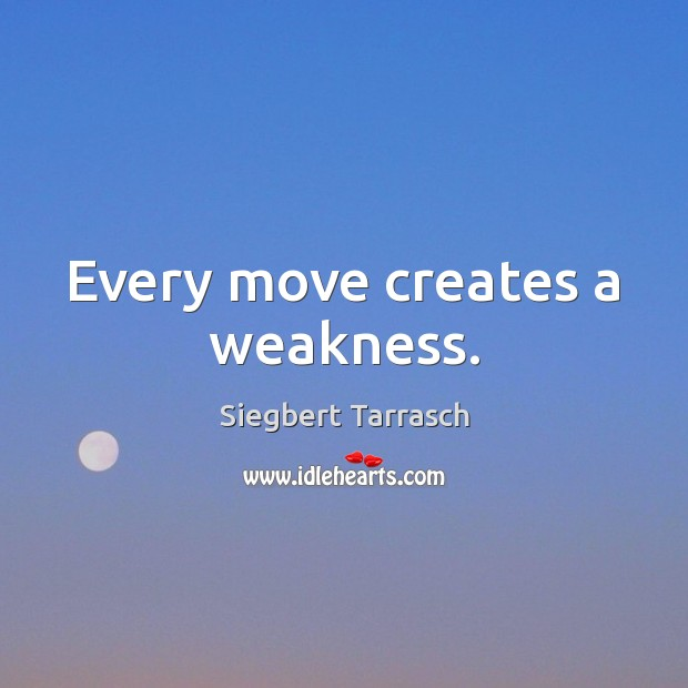 Every move creates a weakness. Image