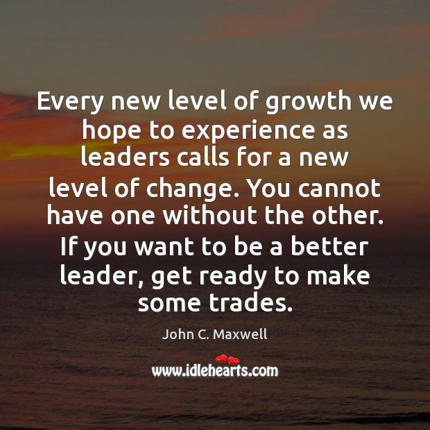 Every new level of growth we hope to experience as leaders calls Growth Quotes Image
