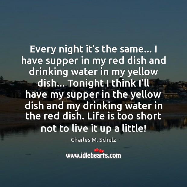 Image, Every night it's the same… I have supper in my red dish