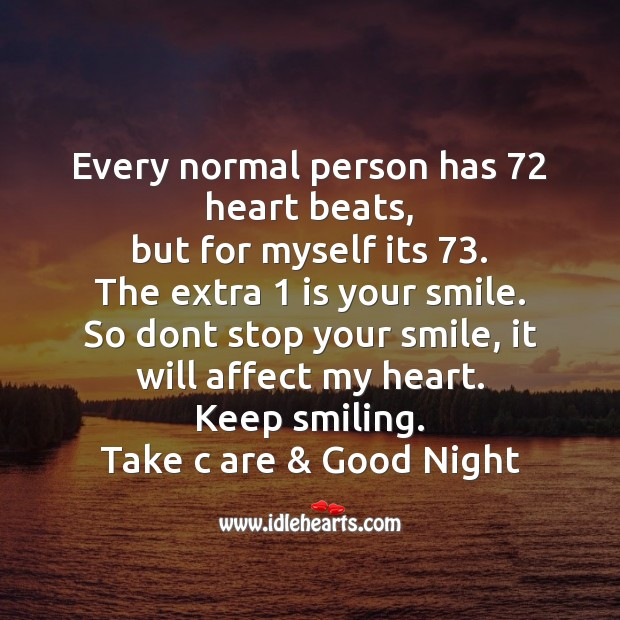 Every normal person has 72 heart beats Good Night Messages Image