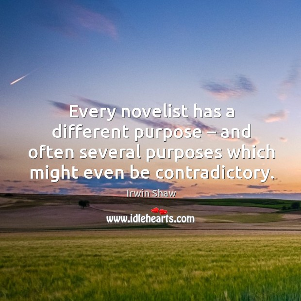 Image, Every novelist has a different purpose – and often several purposes which might even be contradictory.