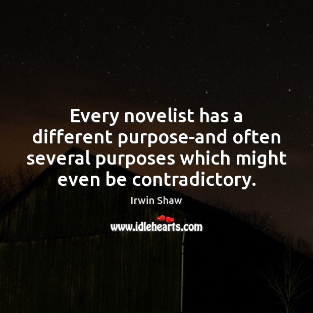 Image, Every novelist has a different purpose-and often several purposes which might even