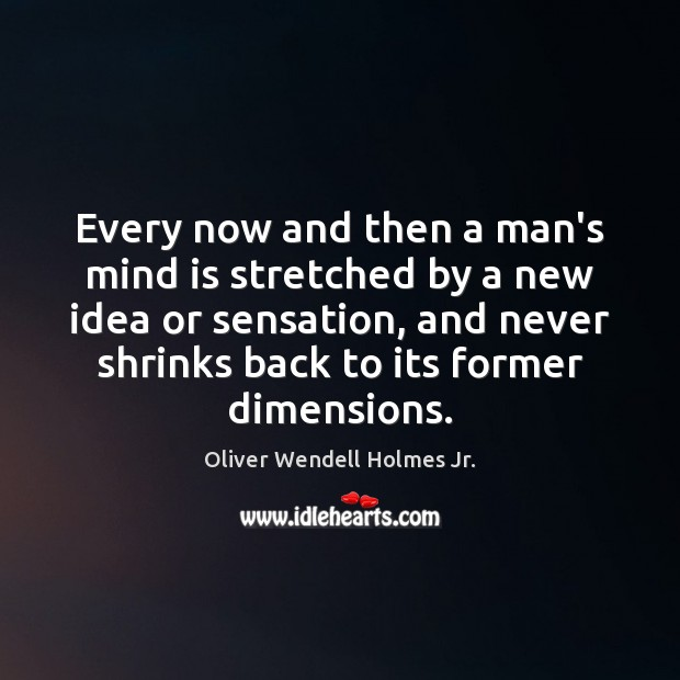 Every now and then a man's mind is stretched by a new Oliver Wendell Holmes Jr. Picture Quote