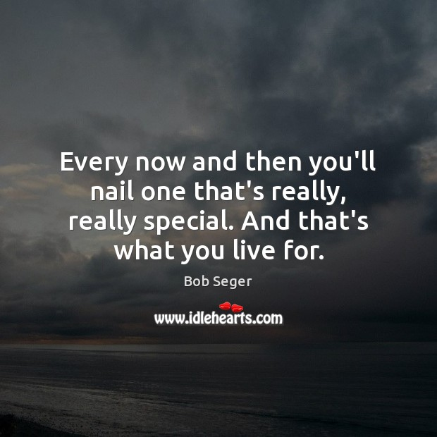 Every now and then you'll nail one that's really, really special. And Bob Seger Picture Quote
