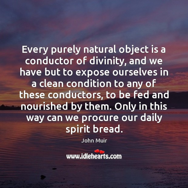 Every purely natural object is a conductor of divinity, and we have John Muir Picture Quote