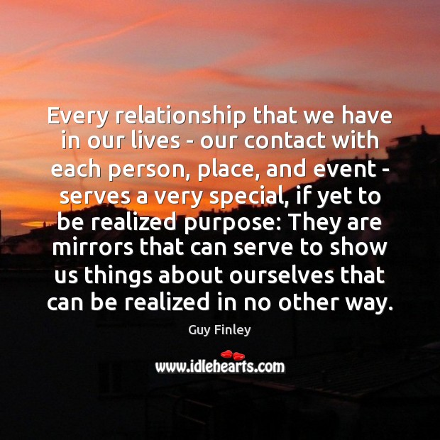 Every relationship that we have in our lives – our contact with Image