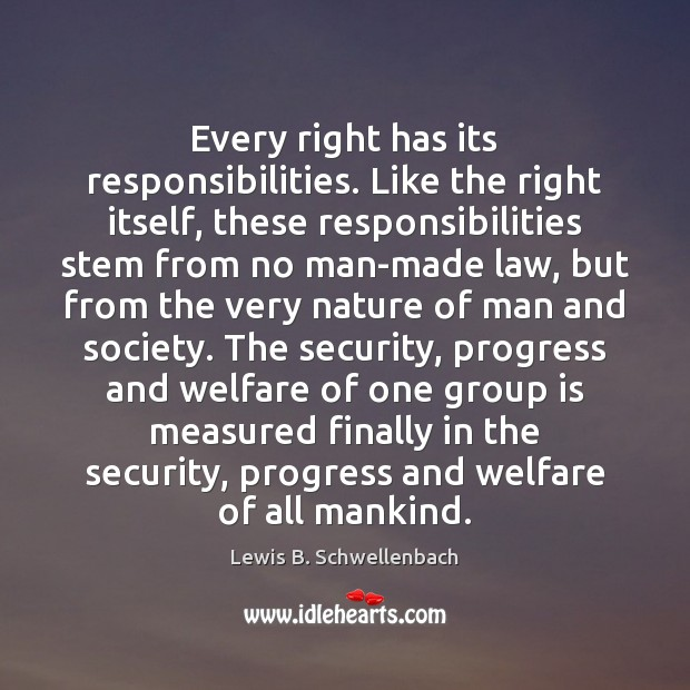 Every right has its responsibilities. Like the right itself, these responsibilities stem Image