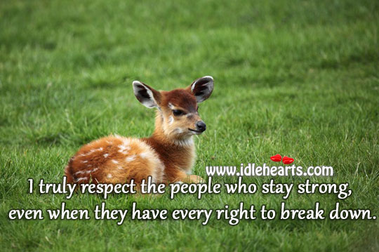I Respect People Who Stay Strong