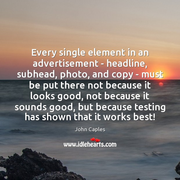 Image, Every single element in an advertisement – headline, subhead, photo, and copy