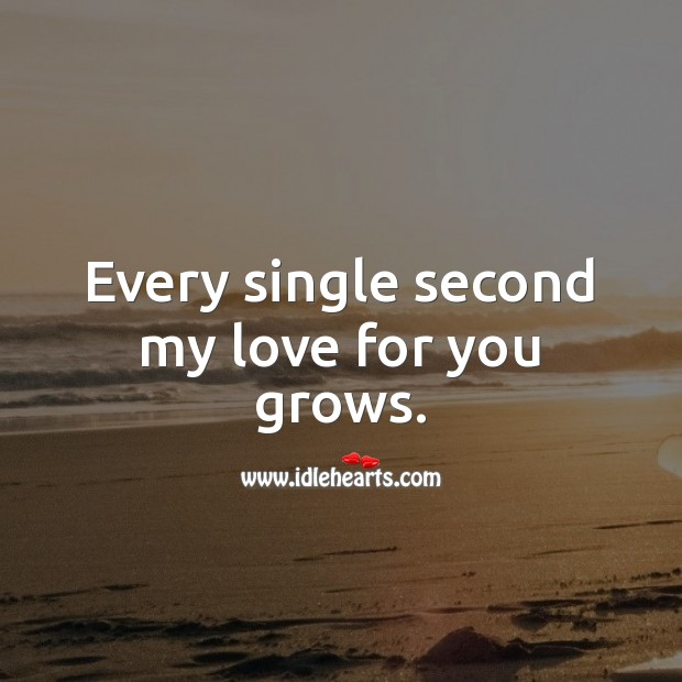 Every single second my love for you grows. Falling in Love Quotes Image