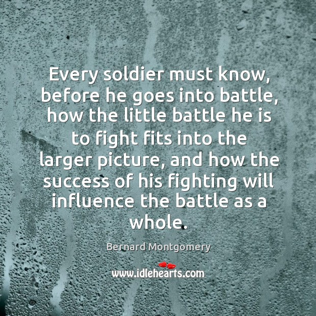 Image, Every soldier must know, before he goes into battle, how the little battle he is to fight fits into the larger picture