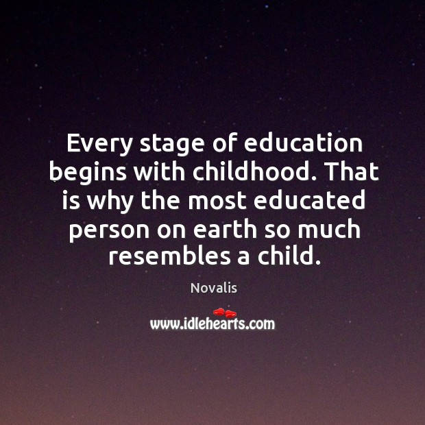 Every stage of education begins with childhood. That is why the most Novalis Picture Quote