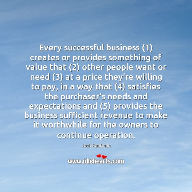 Every successful business (1) creates or provides something of value that (2) other people Image