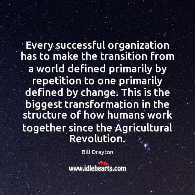 Every successful organization has to make the transition from a world defined Image