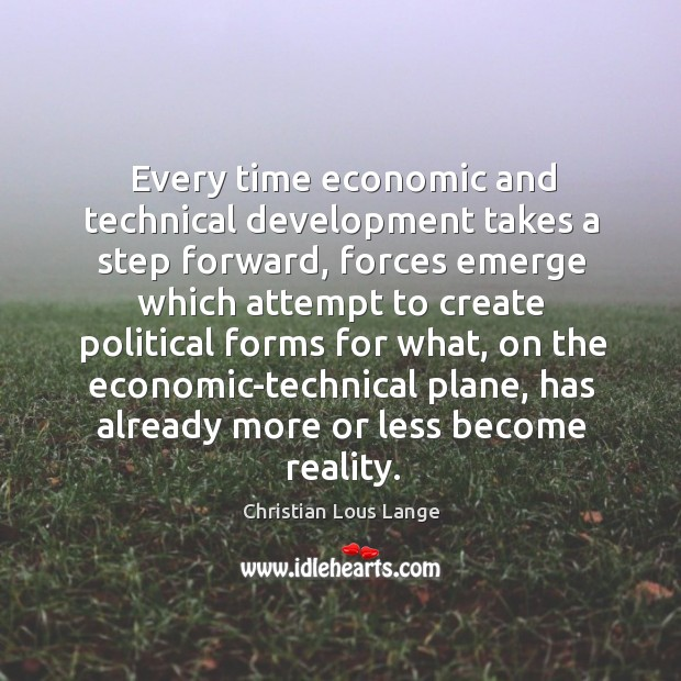 Image, Every time economic and technical development takes a step forward, forces emerge which
