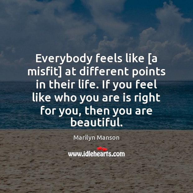 Everybody feels like [a misfit] at different points in their life. If You're Beautiful Quotes Image