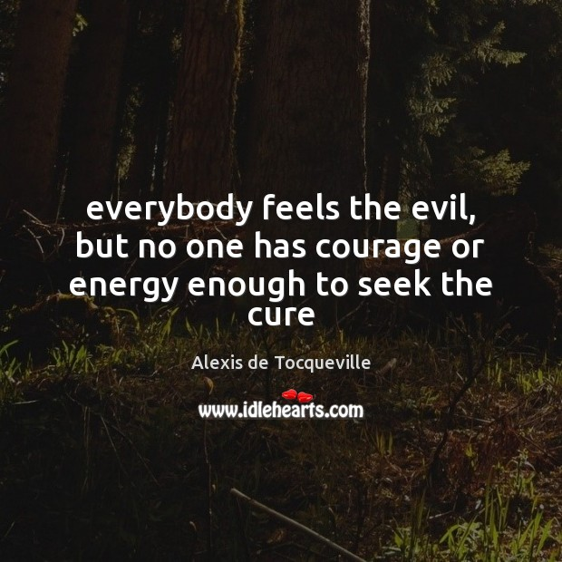 Everybody feels the evil, but no one has courage or energy enough to seek the cure Image