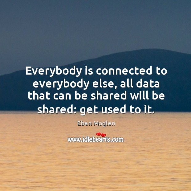 Everybody is connected to everybody else, all data that can be shared Image