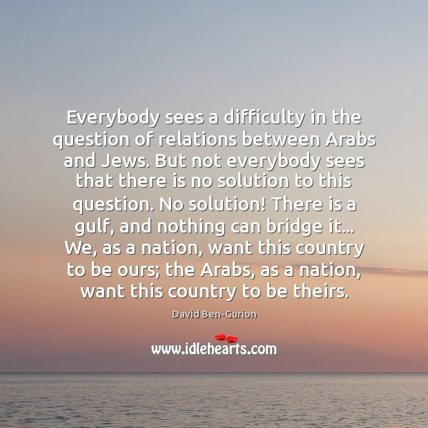 Image, Everybody sees a difficulty in the question of relations between Arabs and