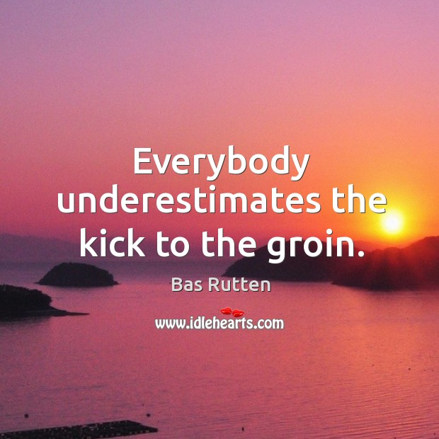 Everybody underestimates the kick to the groin. Bas Rutten Picture Quote