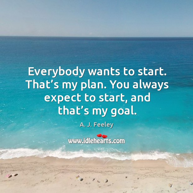 Image, Everybody wants to start. That's my plan. You always expect to start, and that's my goal.