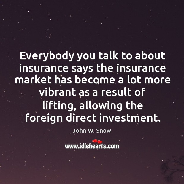 Everybody you talk to about insurance says the insurance market has become a lot more vibrant Image