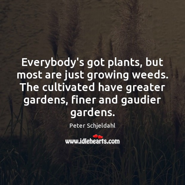 Everybody's got plants, but most are just growing weeds. The cultivated have Peter Schjeldahl Picture Quote