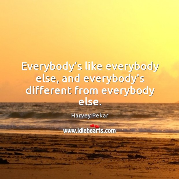 Everybody's like everybody else, and everybody's different from everybody else. Harvey Pekar Picture Quote