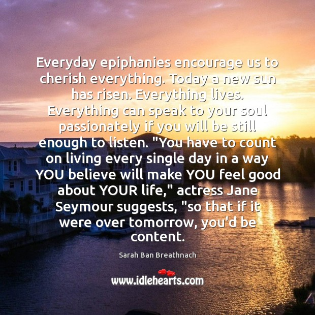 Everyday epiphanies encourage us to cherish everything. Today a new sun has Sarah Ban Breathnach Picture Quote