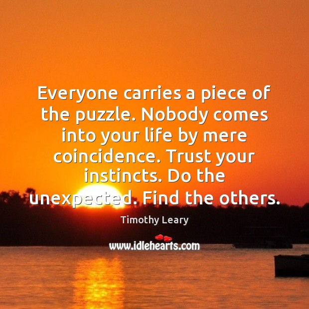 Everyone carries a piece of the puzzle. Nobody comes into your life Timothy Leary Picture Quote