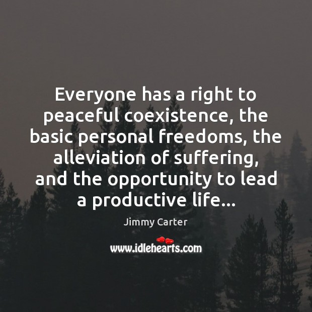 Everyone has a right to peaceful coexistence, the basic personal freedoms, the Coexistence Quotes Image