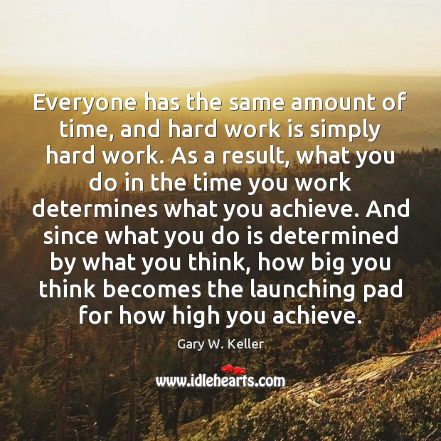 Everyone has the same amount of time, and hard work is simply Image