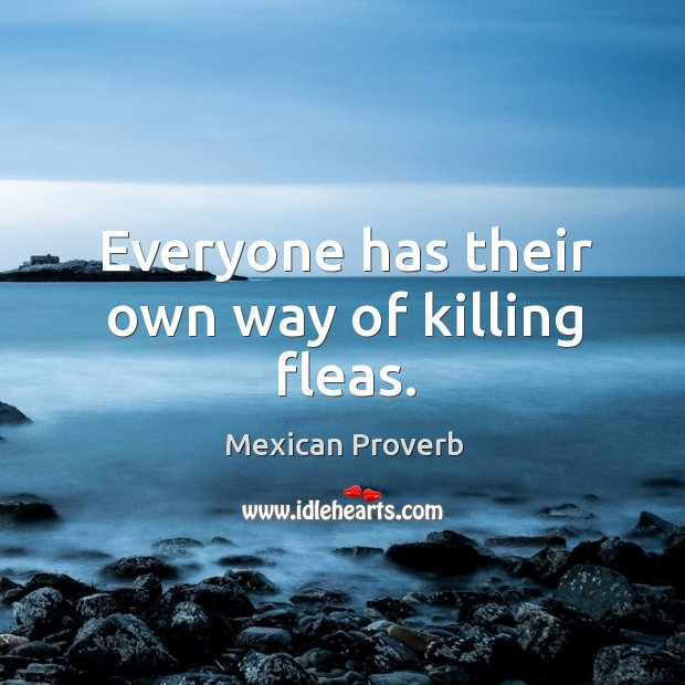 Everyone has their own way of killing fleas. Mexican Proverbs Image