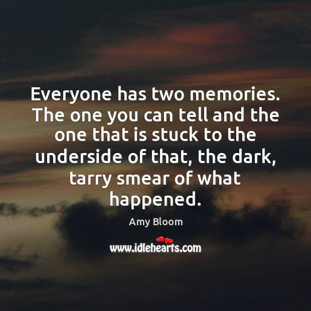 Everyone has two memories. The one you can tell and the one Image