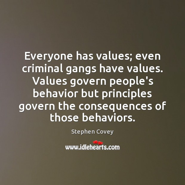 Everyone has values; even criminal gangs have values. Values govern people's behavior Image