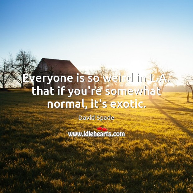 Everyone is so weird in L.A. that if you're somewhat normal, it's exotic. David Spade Picture Quote