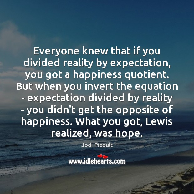 Image, Everyone knew that if you divided reality by expectation, you got a