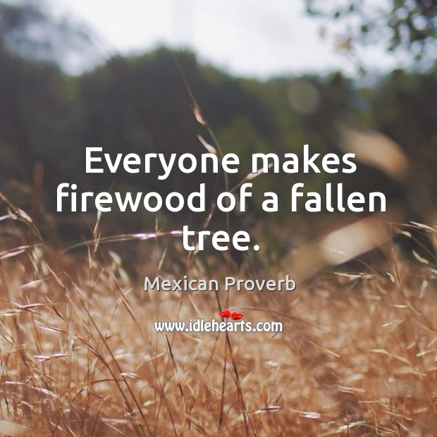 Everyone makes firewood of a fallen tree. Mexican Proverbs Image