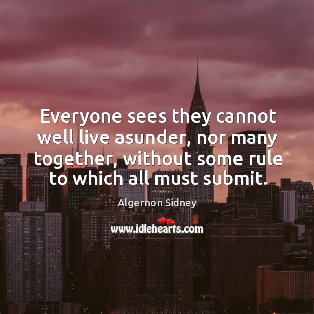 Everyone sees they cannot well live asunder, nor many together, without some rule to which all must submit. Image