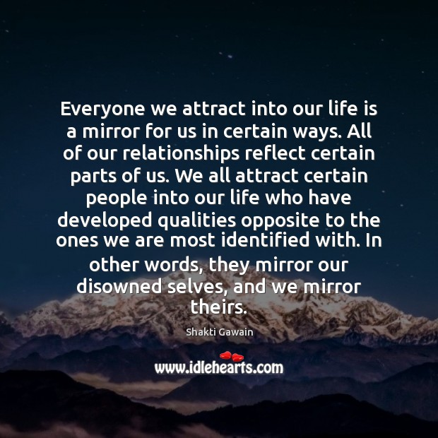 Everyone we attract into our life is a mirror for us in Image