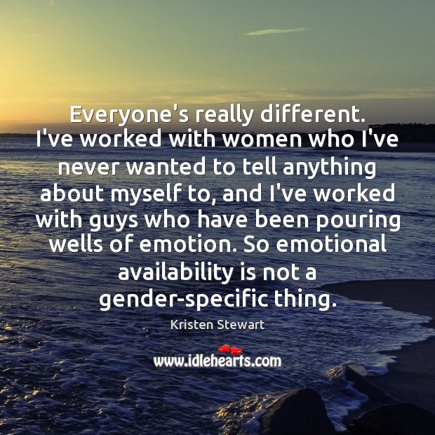 Everyone's really different. I've worked with women who I've never wanted to Kristen Stewart Picture Quote
